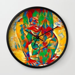 3334s-SRC Abstract Woman with Blue Eyes Rendered in Color and Style Wall Clock
