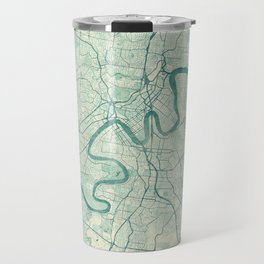 Brisbane Map Blue Vintage Travel Mug