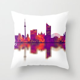 Leipzig Germany Skyline Throw Pillow