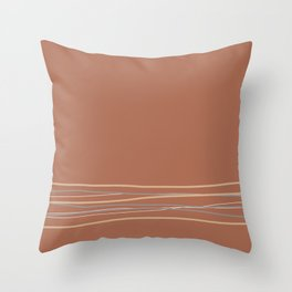 Sherwin Williams Cavern Clay Warm Terra Cotta SW 7701 with Scribble Lines Bottom in Accent Colors Throw Pillow