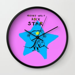 MOZART WAS A ROCK STAR (PINK) Wall Clock