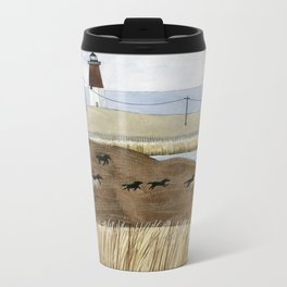 Seashore lighthouse and wild horses Metal Travel Mug