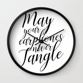 May your earphones never tangle Wall Clock