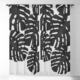 Monstera Black & White I Blackout Curtain