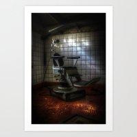 dentist Art Prints featuring Dentist horror by Cozmic Photos