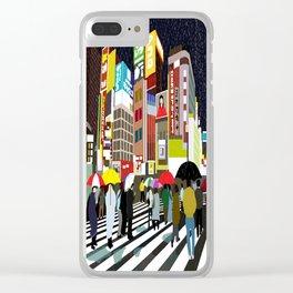 Umbrellas in Tokyo Rain Clear iPhone Case