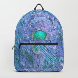 Teal and Purple Peacock Feathers Backpack