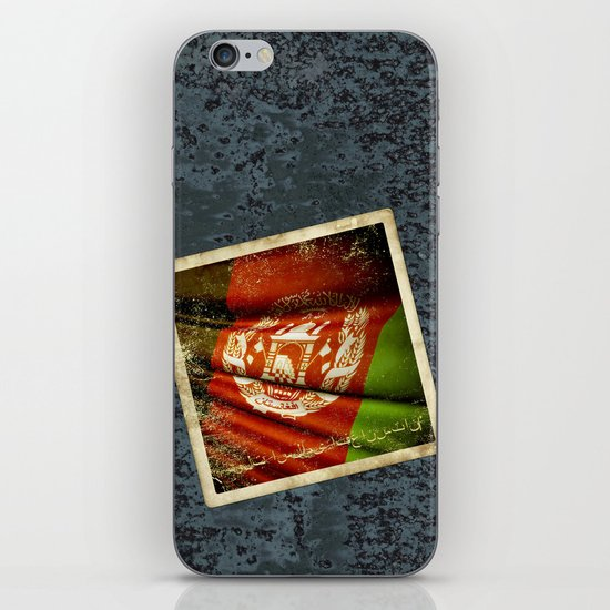 Grunge sticker of Afghanistan flag iPhone & iPod Skin