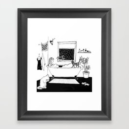 Cat lady in the bathtub Framed Art Print