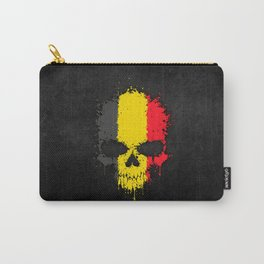 Flag of Belgium on a Chaotic Splatter Skull Carry-All Pouch