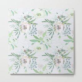 Blush pink white green watercolor modern floral berries pattern Metal Print