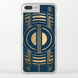 Art Deco Unfinished Love In Blue Clear iPhone Case