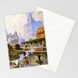 Elevated Subway at Chatham Square New York City landscape painting by Colin Campbell Cooper  Stationery Cards