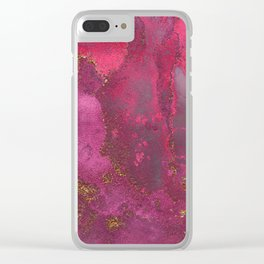 Pink and Gold Blush Rose Glitter Gemstone Marble Clear iPhone Case