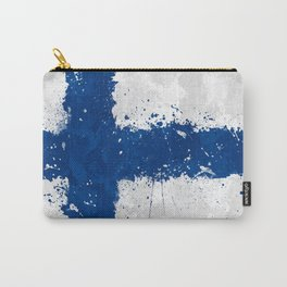 Finland Flag - Messy Action Painting Carry-All Pouch