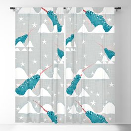 Sea unicorn - Narwhal grey Blackout Curtain