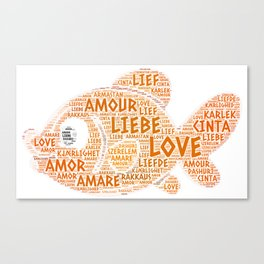 Fish illustrated with Love Word of different languages Canvas Print