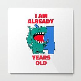 4th Birthday Shirt for Boys Metal Print