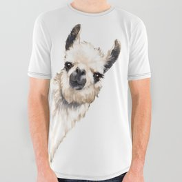 Sneaky Llama White All Over Graphic Tee