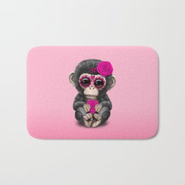 Pink Day of the Dead Sugar Skull Baby Chimp Bath Mat