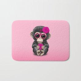 Pink Day of the Dead Sugar Skull Baby Chimp Bath Mat