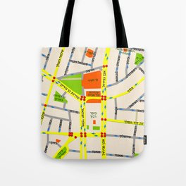 Tel Aviv map design - written in Hebrew Tote Bag