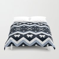 sweater Duvet Covers featuring Sweater Weather by Dorothy Leigh