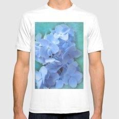 Blue Hydrangea on Green MEDIUM White Mens Fitted Tee