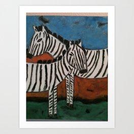 Crossing Zebras Art Print
