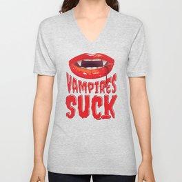 Vampires Suck Gift Bloodsucking Mouth Halloween Costume Unisex V-Neck