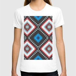 Colorful patchwork mosaic oriental kilim rug with traditional folk geometric ornament. Tribal style T-shirt