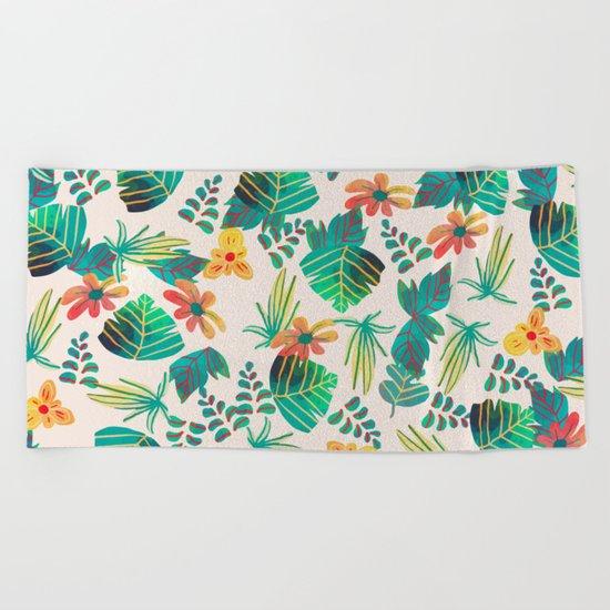 Leaves and Flowers Beach Towel