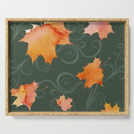 Falling Leaves Green Serving Tray