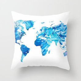 Abstract Blue World Map Painting Throw Pillow