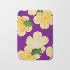 Purple Japanese Floral Vintage Pattern Bath Mat