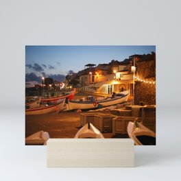 Fishing harbour at dusk Mini Art Print