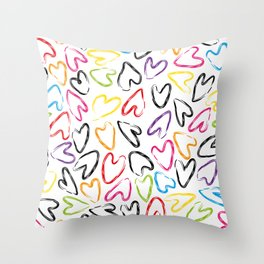 hearts doodle pattern Throw Pillow