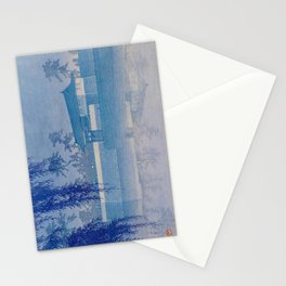 Kawase Hasui Sakurada Gate in Tokyo; Rare Blue Version 1928 Japanese Woodblock Print Stationery Cards