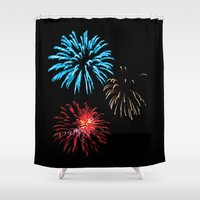 patriotic Shower Curtains featuring Patriotic Fireworks by Tracy Ginther