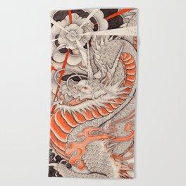 Japanese tattoo Typhoon dragon Beach Towel