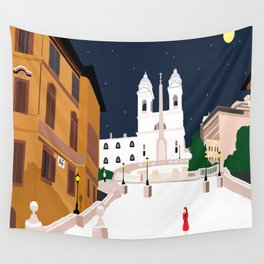 Spanish Steps in Snowy Rome Wall Tapestry