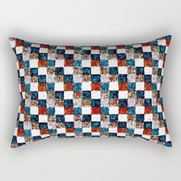 Turquoise Orange Cream Patchwork Rectangular Pillow
