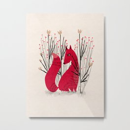 Fox in Shrub Metal Print