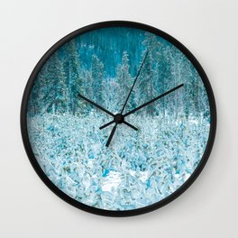 Tiny Forest // Snow Covered Evergreen Trees Spring Snow in the Mountains Cool Moody Photograph Wall Clock