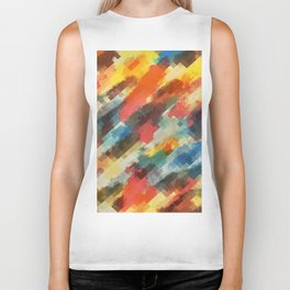 psychedelic camouflage geometric pixel square pattern abstract in orange yellow blue Biker Tank