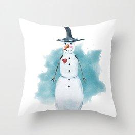 Thin Snowman Throw Pillow