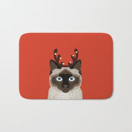 Siamese Cat Reindeer Costume funny cat art for cat lady gift for the holidays cats christmas outfit Bath Mat