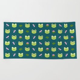 Frogs, Dragonflies and Lilypads on Teal Beach Towel