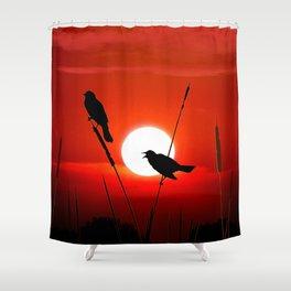 Blackbirds On Red Sunset. Shower Curtain