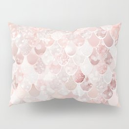 Mermaid Scales Pattern, Blush Pink and Rose Gold Pillow Sham